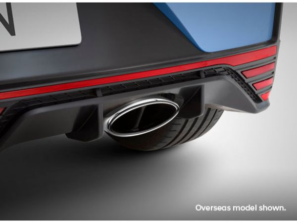 Variable exhaust with chrome tip.